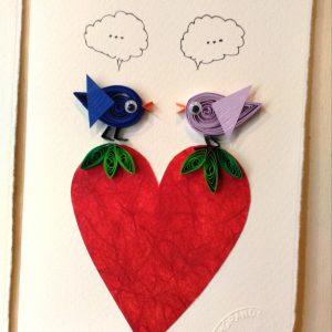 Biglietto uccellini innamorati