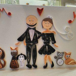 Ritratto sposi con animali domestici (formato A4)
