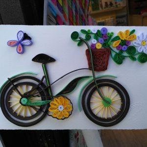 Biglietto bici da passeggio con cestino di fiori