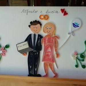 Ritratto sposi con richiamo alla professione (formato A5)